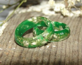 Green Resin Ring Real Plants Jewelry, Nature Resin Ring Flower Gift Ring, Botanical Ring Gift for Women, Inspired Jewelry Ring Gift For Her