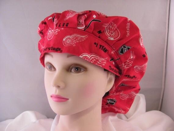 Women's Bouffant Scrub Hat Red Wings