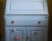 SOLD  Bureau desk made to order bespoke hand painted furniture light blue and yellow pastel vintage painted furniture