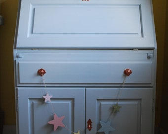 SOLD * Bureau desk, made to order, bespoke hand painted furniture, light blue and yellow pastel, vintage painted furniture