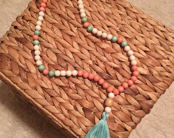 Coral and Aqua beaded necklace with tassel