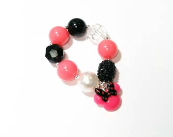 Girl's chunky bubblegum Minnie Mouse bracelet