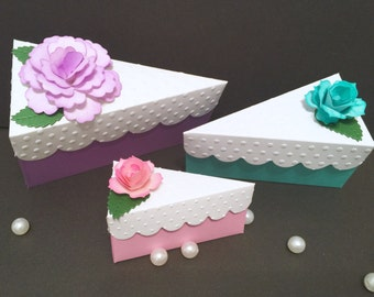 Cake Slice Favor Boxes! 3 Different Sizes AND 3 Different Colors!Choose Your Favorite! Includes Flower Tops!Weddings, Baby Showers and More!
