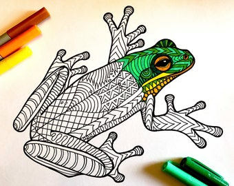 Frog - PDF Zentangle Coloring Page