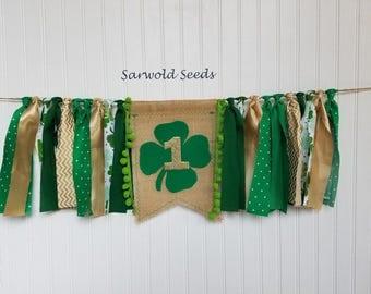 St Patricks Day Fabric Banner, Birthday, Highchair, Cake Smash, Back Drop, Photo Shoot
