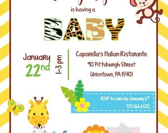 Jungle Baby Shower Downloadable Invitation