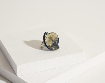Galaxy ring, ring in blue and gold resin, adjustable base ring Steel Gift For Yourself, handmade ring, modern ring