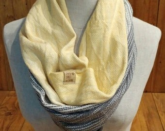 Handwoven cowl scarf cotton/wool