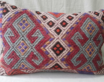 "Kilim Pillow, Lumbar Cicim Kilim Pillow, Feet:1'3""2'0"" 40×60cm Kilim Pillow Cover, Decorative Pillow, Lumbar Pillow, Ethnic, Decor, Tribal"