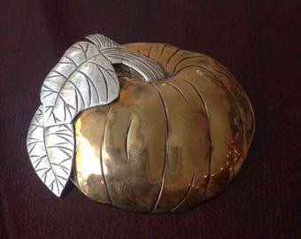 Bronze and silver PUMPKIN convertible PENDANT BROOCH
