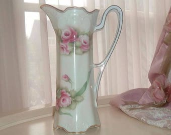 Vase / pitcher with hand painted roses
