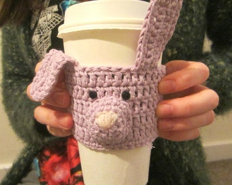 Light Purple Rabbit Cup Cozy, Easter Rabbit, Gift for Women, Cute Gift, Mug Cosy, Easter Gift, Tea Cover, Coffee Cup Sleeve, Cup Holder