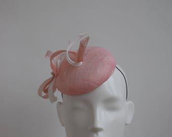 Blush Pink Button Hat - Pink and White Hat - Pink Ascot Hat - Pink Wedding Hat - Pale Pink Fascinator - Pastel Pink Wedding Hat - Light Pink