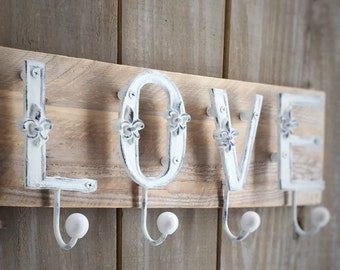 Shabby Chic French Fleur de Lis Letter Hooks LOVE on Reclaimed Wood Plank