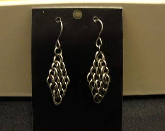 Titanium diamond earrings chainmail