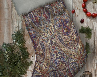 Luxury Gold Baroque Renaissance Style Brocade Christmas Stocking with Fur Trim