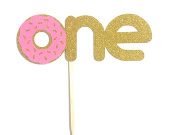 1 pc Donut One Gold Glitter Cake Topper for Birthday Baby Toddler girl boy summer Party donut grow up theme