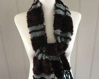 Beautiful handknit scarf and woven yarn chocolate brown and dark green