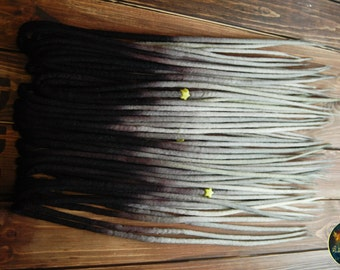 Set of wool DE dreads black dirty white gray double ended dreadlocks by Alice Dreads