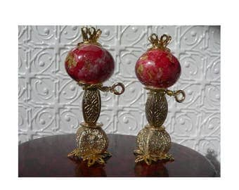 OOAK dollhouse miniature pair of decorative bead lamps, 1/12 scale.  Red Marbled Delight set