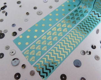 Aqua with gold foil washi tape, polka dots, diamonds, chevrons