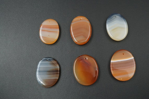 Lot of 6 Oval Shaped Smooth Agate Pendant Stones A-2