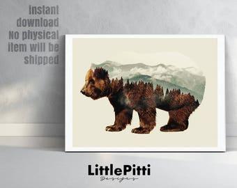 Bear print, double exposure, scandinavian art, bear wall art, bear silhouette, woodland print, bear wall decor, grizzly, digital bear print