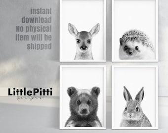 Childrens art, forest animals, childrens room decor, playroom art, rabbit, deer, bear, hedgehog, minimal nursery, animal prints set of 4