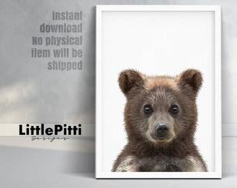 Bear cub print, baby nursery animal print, large wall decor, woodlands printable poster, digital print, nursery decor, bear art prints