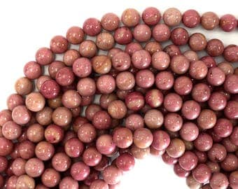"10mm pink rhodonite round beads 15.5"" strand S2 39423"