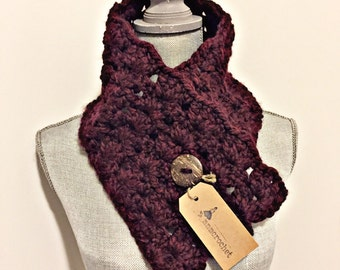 handcrafted crochet buttoned cowl