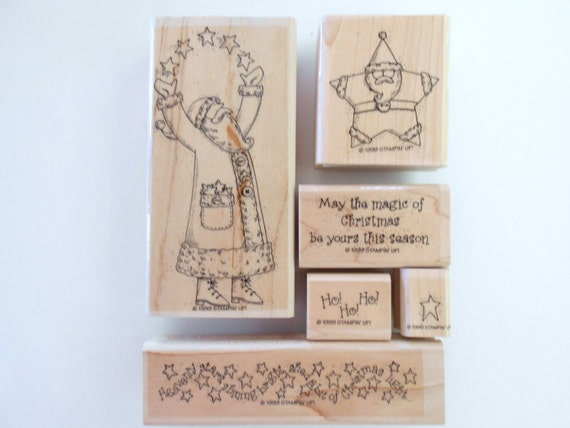 Christmas Rubber Stamps Star Santa by Stampin Up Scrapbooking Stamps Holiday Stamps Retired Rubber Stamps Craft Stamps Card Maker Stamps