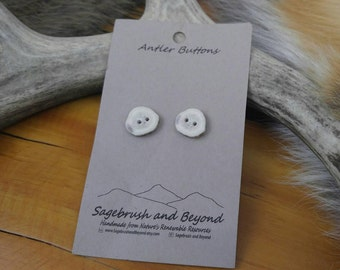 Deer Antler Buttons, Rustic Buttons, Bone Buttons, Natural Organic Buttons, Unique Buttons, Fasteners, 2 Hole Buttons, Reenactor Buttons