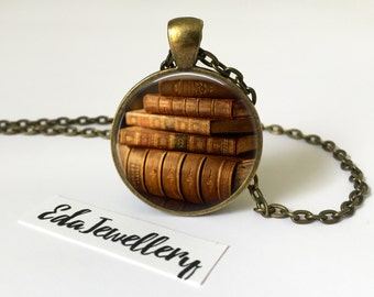 Vintage Stack of Books Pendant, Jewellery, Necklace