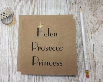 Personalised Prosecco Princess Card - Card for Prosecco Lover - Prosecco Princess - Prosecco Birthday Card - Prosecco Greeting Card