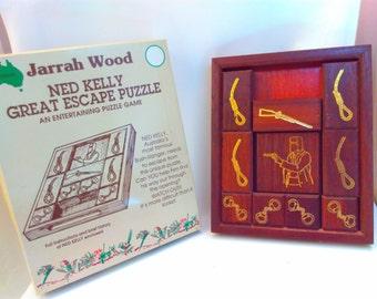Vintage game, 1993, Jarrah Wood, Ned Kelly great escape puzzle, Australia, Ned Kelly, puzzle, puzzle game, wooden puzzle, Australian, games