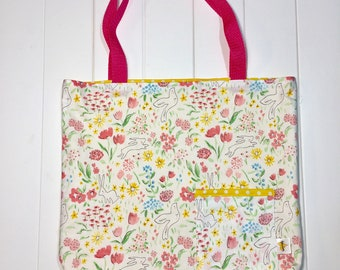 Reversible Tote Bag. Errand Bag. Gifting Bag. Library Bag. Pink Spring Flowers, Rabbits and Doves on White. Yellow and White Polka Dots