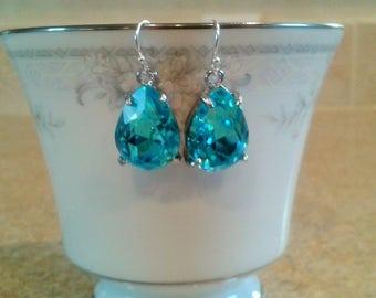 Aqua blue pear shape drop earrings