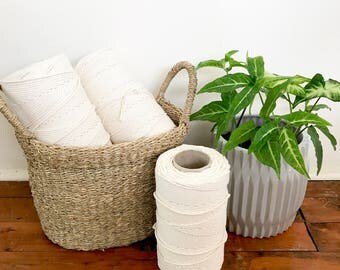 Macrame Cord 3mm x 250m/1kg, 3 Ply (3 Strand) Twisted Natural Cotton, Bulk Macrame Rope, DIY Macrame