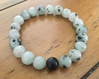8mm Black Sesame Jasper Stretch Bracelet, For Him, For Her, Gifts, Yoga Jewelry