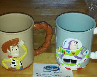 1996 Disney Pixar 3D TOY STORY Buzz and Woody Collectible Mugs