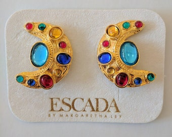 Vintage Escada Clip on Earrings//Colourful//Moon//Gold//Gifts for her//Jewellery//Vintage Couture, Designer, Luxurious// ES003