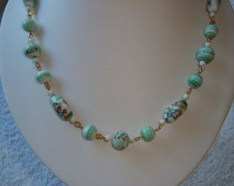 Vintage Green Swirl Lampwork Decal Beaded Necklace