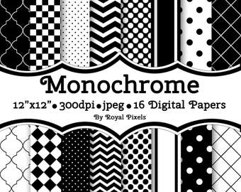 14 Digital Paper Backgrounds - Monochrome - Black & White - High Contrast - Instant Download - Printable Paper #10