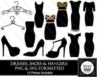 Dresses, Shoes and Hanger Clip Art - 13 Pieces Included - PNG & SVG Files #110