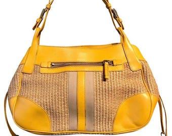 Prada Hobo Bag Purse Yellow Leather Wicker and Canvas