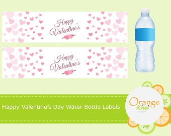 Happy Valentine's Day, Valentine Water Bottle Wrappers, Pink Chevron Water Bottle Labels, Waterproof Labels, Valentine Party Favors