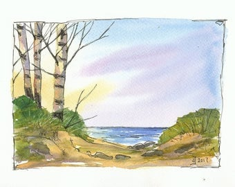 Print of watercolour painting Sunset at the lake - by Judit Szabo
