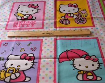 HELLO KITTY FABRIC Panel!  1/2 Yard For Quilting / 12 Pictures - Polka Dot Border - Pastels