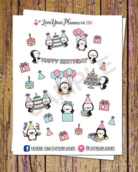 Connu 22 Kawaii anniversaire Penguins Planner Stickers Autocollants MI11